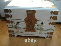 Chinese White Lacquer Mother Of Pearl Geisha Girl Jewelry Box Chest Courtly Lady