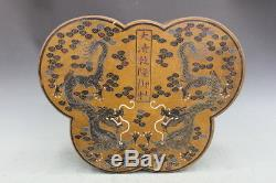 Chinese Wood Carving painting Two Butterfly shaped box Palace jewellery Boxes