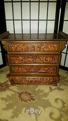 Chinese Wood Hand Carved Antique Jewelry Box Chippendale/Oriental withDrawers
