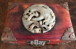 Chinese Wood Jewelry Box with Carved Jade Insert