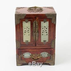Chinese Wood Jewelry Chest Green Satin Lined Box Carved Jade Brass Cabinet 9.5