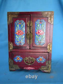 Chinese Wood and Cloisonne Enamel 8 Plaque Jewellery Coin Vintage Watch Box Rare