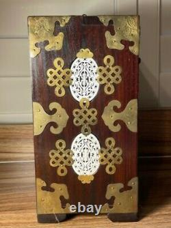 Chinese Wooden Jewelry Box Brass & Ornate Carved Jade with a Lock