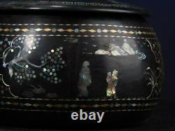 Chinese antique vintage jewelry box vintage mother of pearl inlay lacquer Go can