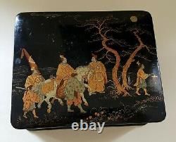Chinese black lacquer wood vintage Victorian oriental antique jewellery box