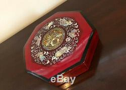 Chinese or Korean Wooden Lacquer Inlay Mother of Pearl Octagon Snack Food Box