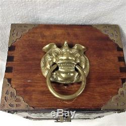 Chinese wooden Jewelry box with brass and Jade medalions