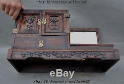 Collect Chinese Huanghuali Wood Hand Craved classical Makeup box Jewelry boxes A