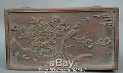 Collect Chinese wood Hand carved tree peony flower peacock gifr box jewelry box