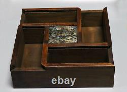 Collectable Decor Boxwood Inlay Conch Carve Auspicious Handwork Old Jewelry Box