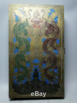 Collection Chinese pure copper painted Two dragons Jewelry box Treasure box