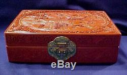 ESTATE VINTAGE LOVELY CHINESE CINNABAR JEWELRY BOX WithCLOISONNE LATCH
