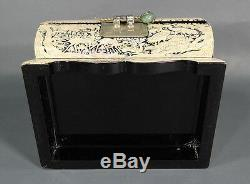Early Chinese Mother-of-Pearl Mosaic Jewelry Casket Trinket Box Cranes Deer Wood