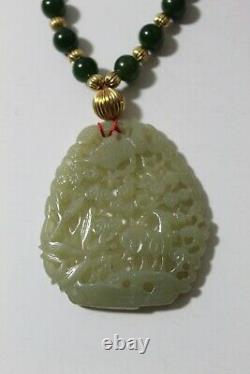 Early Chinese large Jade and gold bead necklace with box from prominent estate