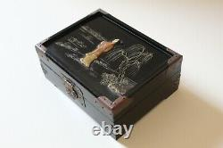 Early Republic period Chinese stone inlayed jewelry box from prominent estate