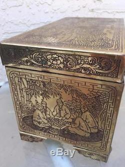 Estate Vintage Chinese Storyteller Engraved Brass Trunk Jewelry Chest Box