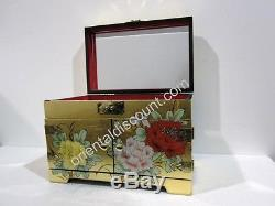 Exotic Oriental Chinese Lacquer Golden Jewelry Box with Mirror, Asian Furniture