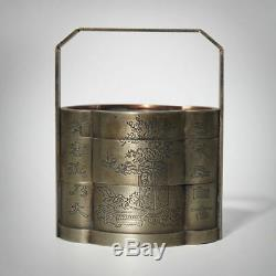 Exquisite Chinese Container Three Layers Jewellery Box Brass Gift Collection
