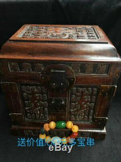 Exquisite Chinese old antique handcarved huanghuali wood longevity Jewelry box