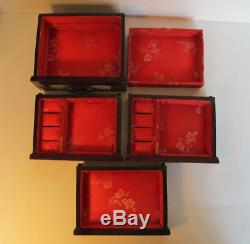 Exquisite Vintage Asian Chinese Jade Brass Wood Jewelry Box Chest 9.5 tall Lock