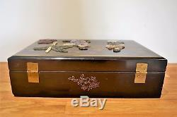 Extal Large Antique Vintage Chinese Black Lacquer Jewellery Box with Soapstone