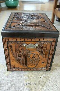 Extra Large Antique Asian Chinese Carved Jewelry Chest Cabinet Big Silklined Box
