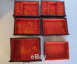 Fabulous Vintage Asian Chinese Jade Brass Wood Jewelry Box Chest 12.5 tall Lock