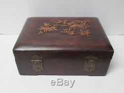 Fine Antique Chinese Carved Hardwood Jewelry Box Inlaid with Floral Design 9