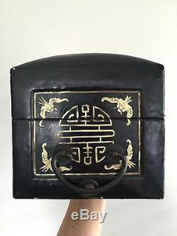 Fine Antique Chinese Lacquer Wood Pillow Jewelry Box Imperial Gold Scholar Art