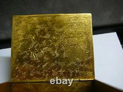 Fine Chinese jewelry gilt bronze box with celadon white jade inset cover 19th C