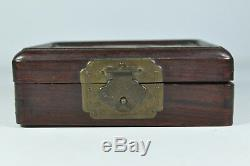 Fine Old 1800/1900 China Chinese Porcelain Plaque Rosewood Wood Jewelry Box Art