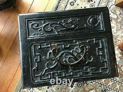 Fine Old Chinese Wood Jewelry Case Box with Carvings, 15 3/4 long