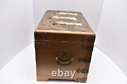 GOLD Oriental Mother of Pearl Lacquer Jewelry Box Chest Chinese Japanese Asian