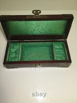 Gorgeous Vintage 20th Century Chinese Rosewood Carved Jade Inlay Jewelry Box