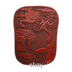 HAND-CARVED Wooden Red Chinese Cinnabar Unique Shape Jewelry Tea Box