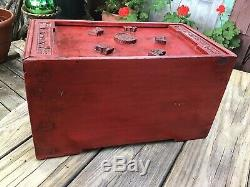 Hand Made Asian Chinese Wood Painted Box 3 Draw Carved Jewelry Chest Estate Sale