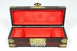 Hand Made Chinese Jewelry Chest with Three Jade Medallions (3 H x10 W)