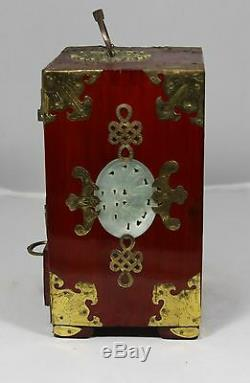 Hand Made Rosewood Chinese Jewelry Chest Inlaid with Jade Medallions with Lock