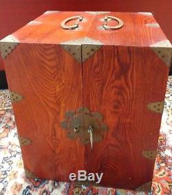 Hardwood Chinese Medicine Traveling Apothecary Tea Chest Jewelry Box 24 Drawers
