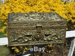 Heavy Antique Chinese Brass Sculpted Jewelry Box Dragons and Serpent Motif