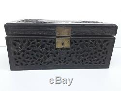 Important carved box, jewelry chest mother of pearl inlay. Possibly chinese