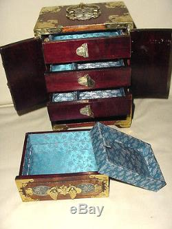 LAQUERED WOOD CHINESE IN SCALE FURNITURE JEWELRY BOX SECRET DRAWERS with KEY LOCK