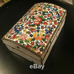 LARGE PRETTY VINTAGE CHINESE CLOISONNE ENAMEL BOX TRINKET JEWELRY WithLOCK