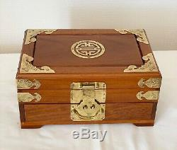 LARGE VINTAGE ROSEWOOD WOODEN JEWELLERY TRINKET CHINESE BOX 12 x 8 x 6 INS