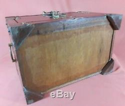 Large Antique Chinese Wood & Brass Jewelry Box