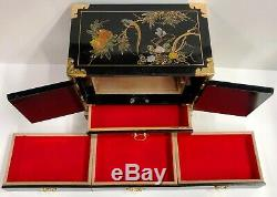 Large Antique Vintage Oriental Chinese Lacquer Jewelry Box Chest Cabinet UNIQUE