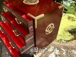 Large Chinese Jewellery Chest Hardwood And Brass Dovetail Joints Jewellery Box