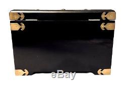 Large Jewelry Box Black Lacquered Chinese 3D Mother-Of-Pearl Traditional Figures
