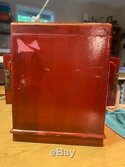 Large Red Chinese Painted Lacquer Jewelry Box with Mirror - lightly used