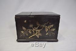 Large Victorian Antique Chinese Japanese Black Lacquer Wooden Jewelry Box